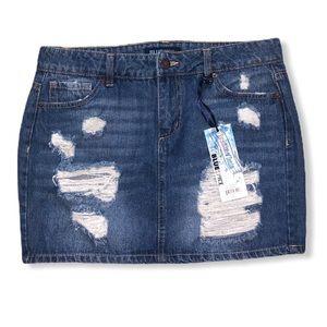 Blue Spice Juniors' High Waist Jeans Skirt